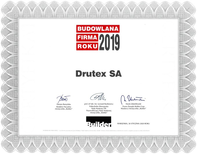 DRUTEX yet again gains the title of the Construction Company of the Year