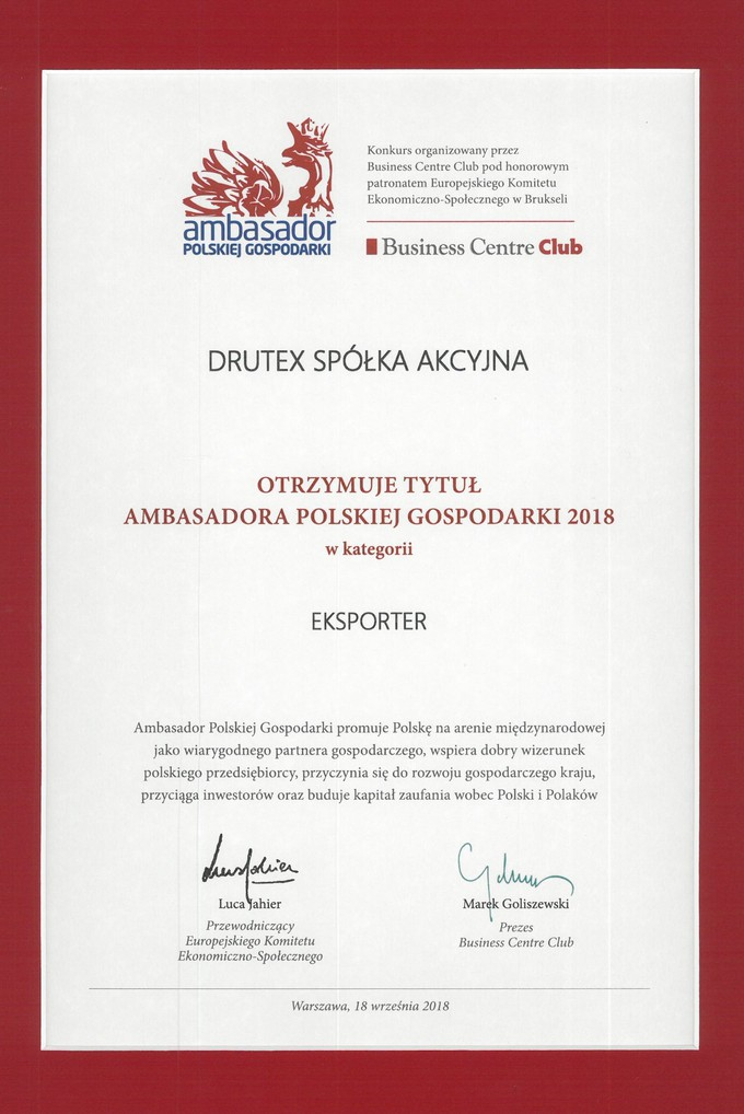 Drutex is awarded the Ambassador of Polish Economy title